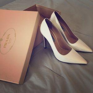 """Authentic PRADA White heels - """"Vernice"""""""
